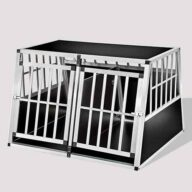 Large Double Door Dog cage With Separate board 06-0778 Aluminum Dog cage: Pet Products, Dog Goods Large Double Door Dog cage