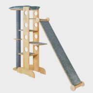 Wood Slide Cat Tree: Pine Wooden Slide Cat Toys Tree house 06-0192