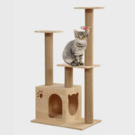 Pet, Cat, Wood Cat Tree 105cm Chinese Supplier Simple Solid Wood Cat Tree Toy