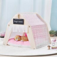 Indoor Portable Lace Tent: Pink Lace Teepee Small Animal Dog House Tent 06-0959 Pet Tents: Pet Teepee Bed House Folding Dog Cat Tents Dog Tent outdoor pet tent