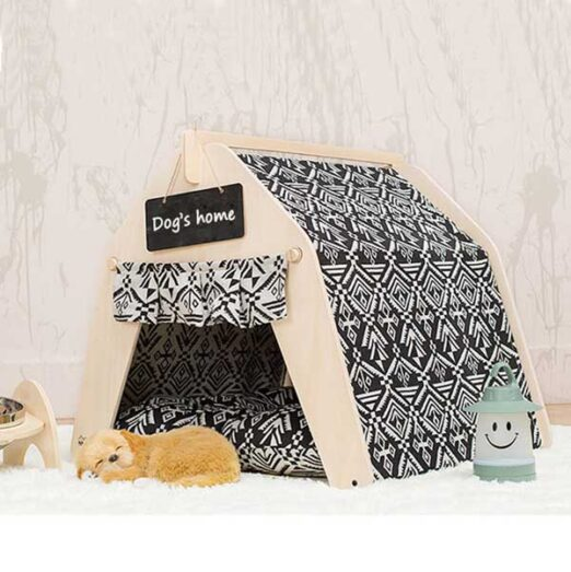 Waterproof Dog Tent: OEM 100% Cotton Canvas Pet Teepee Tent Colorful Wave Collapsible 06-0963 Pet Tents: Pet Teepee Bed House Folding Dog Cat Tents Dog Tent outdoor pet tent